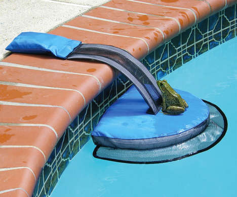 Floating Frog Safety Platforms - The 'Frog Log' Helps Amphibians Reach Safety When in the Pool