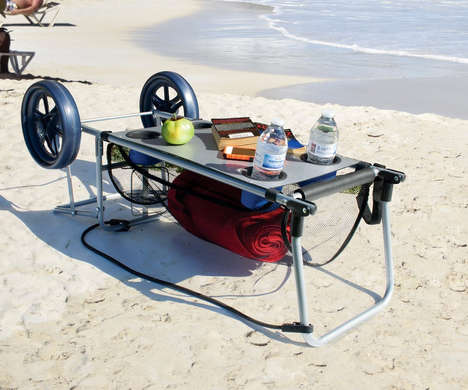 Multifunctional Beach Carts - The 'Wonder Cart' Cart and Table Packs Everything for Day Trips