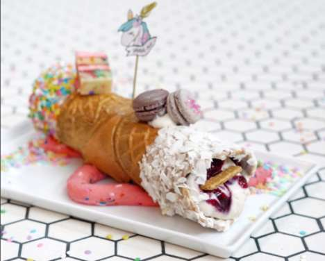 Unicorn-Themed Pastries - This Unicorn Cannoli From Gelso & Grand is Topped With Macarons