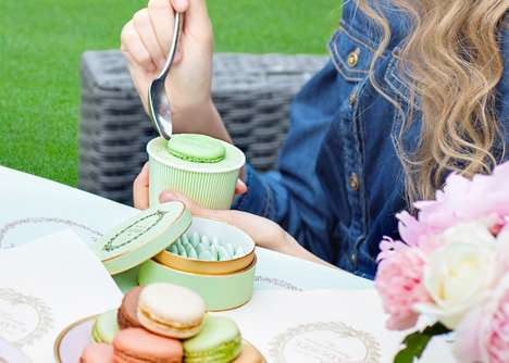 Macaron-Topped Dessert Cups - Ladurée Vancouver is Now Serving To-Go Ice Cream and Sorbet