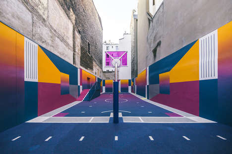Vivid Co-Branded Basketball Courts - Nike and Pigalle Designed a Stunning Geometric Basketball Court