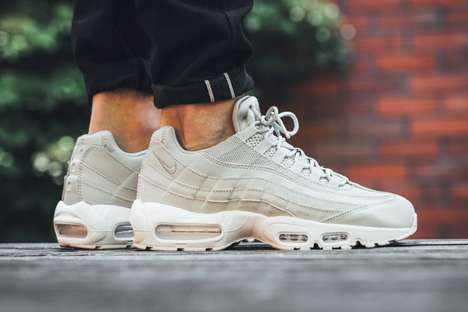 Tonal Leather Sneakers - The New Nike Air Max 95 in Pale Grey is an Everyday Wardrobe Powerhouse