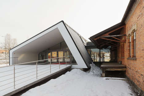 Titled Cultural Center Extensions - Magasinet's New Extension Looks Canted from the Outside