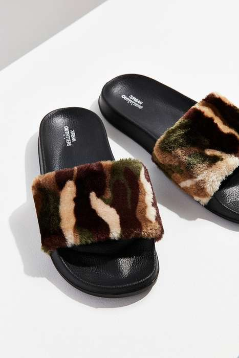 Furry Camouflage Sandals - These Urban Outfitters Sandals are Fashionable and Affordable