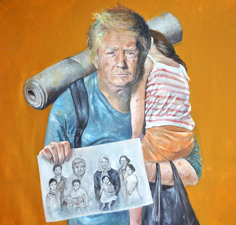 Reimagined Refugee Paintings - Syrian Artist Abdalla Al Omari Painted World Leaders as Refugees