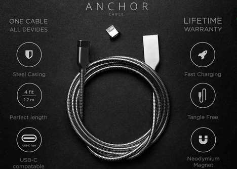 Multi-Use Steel Charging Cables - The 'ANCHOR' Cables Charge Your Smartphone, Laptop and More