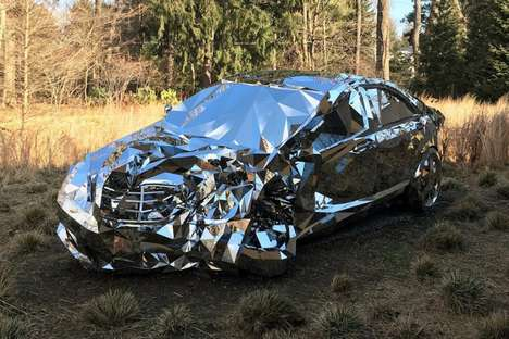 Mirrored Car Sculptures - 'Wreck' by Jordan Griska is a Prefect Mirrored Replica of a Mercedes S550