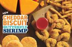 Cheesy Seafood Combos - Popeyes' New Cheddar Biscuit Butterfly Shrimp Features Ghost Pepper Jelly