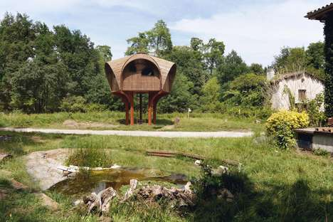 Stilted Hiking Shelters - Le Haut Perche is on the Banks of a River Outside Bordeaux