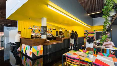 Brightly Tiled Cafes - Morag Myerscough Designed the Cafe in the Bernie Grants Arts Center