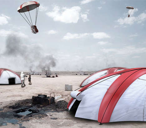 Dual-Purpose Parachute Tents - The 'Airborne Tent' Works Effectively for Disasters Relief