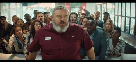 Fantasy-Spoofing Restaurant Ads - KFC UK and Ireland's New Ad Features Hodor from Game of Thrones