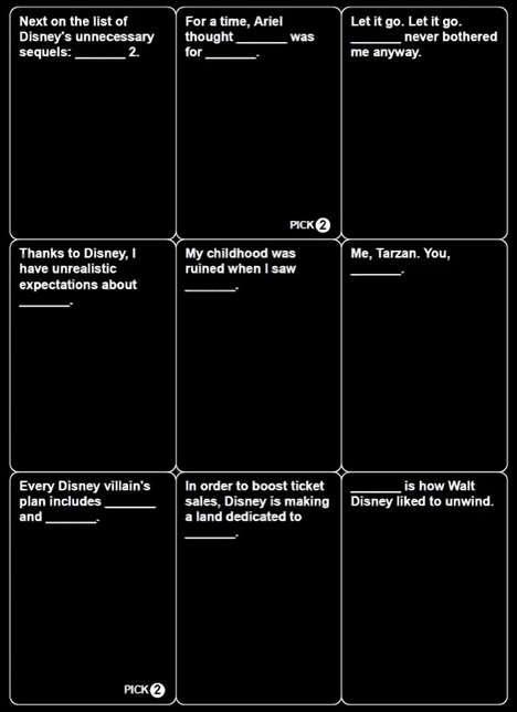 Risque Disney-Themed Card Games - There May Soon be a Disney Cards Against Humanity Game