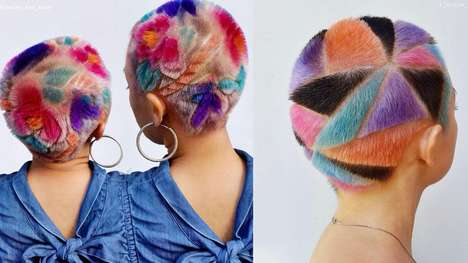 Rainbow Hair Carvings - Janine Ker's Colorful Hair Creations are Spotlighted Atop Short Cuts