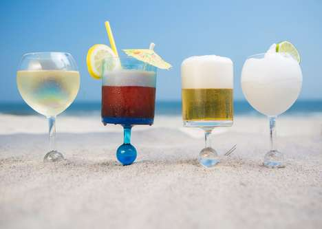 Beachgoer Beverage Glasses - The Beach Glass Boasts a Spiked Bottom to Stick in Sand