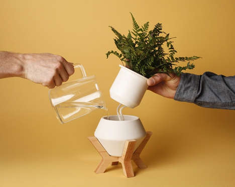 Self-Watering Planters - The 'Lander Planter' Elegantly Displays Plants at Home or at the Office