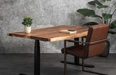 Rustic Tabletop Standing Desks - The Ergonofis Adjustable Height Desk Sits on an Electronic Frame