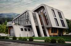 Asymmetrical Sloped Roof Homes - The Single Family House by Andrii Ortynskyi is Irregularly Chic