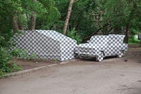Painted Illusion Cars - IRL Photoshop Installation 'CTRL+X' Revitalizes Derelict Cars