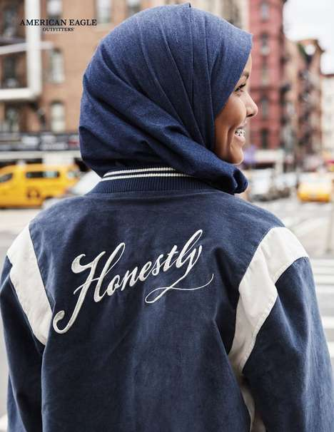 Denim Hijab Casualwear Campaigns - American Eagle's Newest Campaign Features the Model Halima Aden