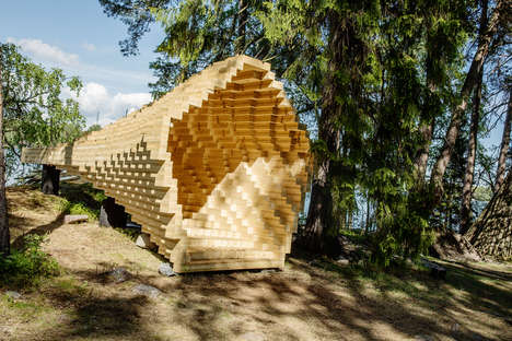 Interlocking Timber Funnels - 'Y' is a Stretching Timber Funnel Built by an International Team