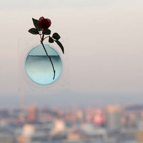 Floating Floral Window Vases - The Kaki Flower Vase Creates the Illusion of Floating Florals