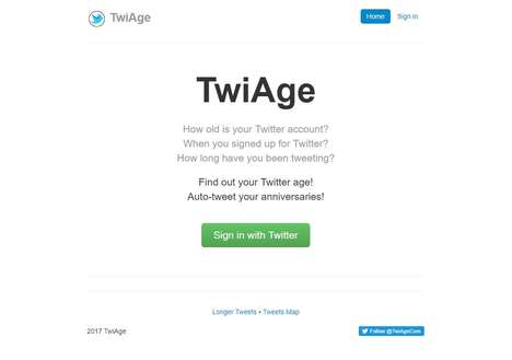 Social Media Age Testers - TwiAge Automatically Finds One's Twitter Account's Age