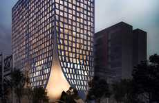 Parted Office Buildings - 'Chapultepec 500' Looks Like a Curtain Being Drawn Apart