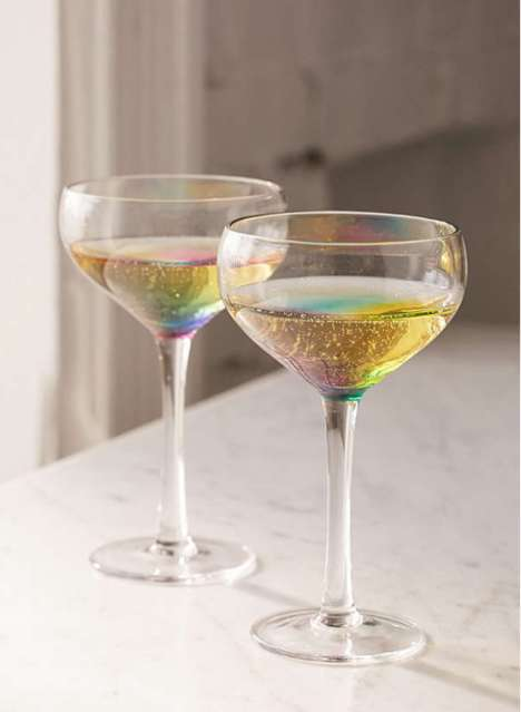 Rainbow Coupe Glasses - These Champagne Glasses Make Rainbow Reflective Cocktails