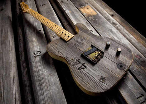 Stadium Bench Board Guitars - The Fender Front Row Legend Esquire is Made from Reclaimed Wood