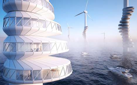 Wind Turbine Residences - The Wind Pecker Residential Spaces are Perched on the Stands of Windmills