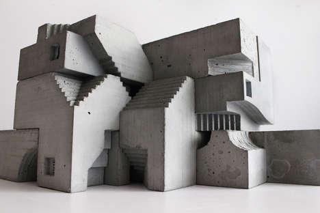Cubist Concrete Sculptures
