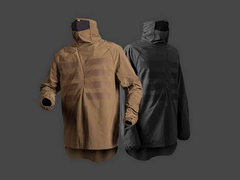 Minimalist Travel Raincoats - The Maharishi Travel Cagoule Jacket Have a Reflective Skeleton Pattern