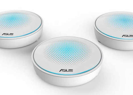 Expansive Coverage WiFi Hubs - The ASUS Lyra System Offers Comprehensive Connectivity in the Home