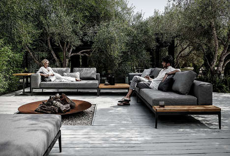 Elegant Interchangeable Outdoor Sofas - The 'Grid' Modular Outdoor Furniture Sofa is Sophisticated