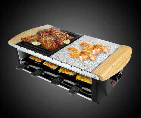 Multi-Level Cooker Food Servers - The NutriChef Raclette Grill Prepares and Serves Food to Guests