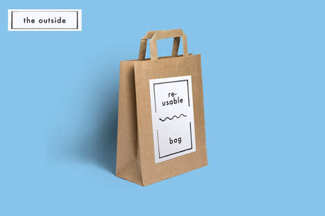 Wrapping Paper Shopping Bags - This Reusable Shopping Tote's Printed Interior Doubles as Gift Wrap