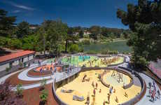 Colorful Amorphous Playgrounds - The Mountain Lake Park Playground is a Joyous Playscape