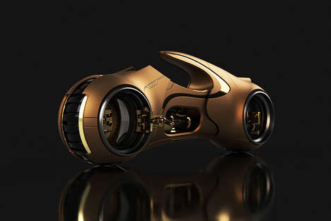 Conceptual Sci-Fi Vehicle Upgrades - This Tron Light Cycle Concept Has a Gilded Aesthetic