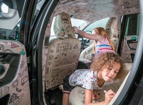 Color-In Car Rentals - These Hertz Rental Cars Feature Coloring Book Upholstery to Entertain Kids