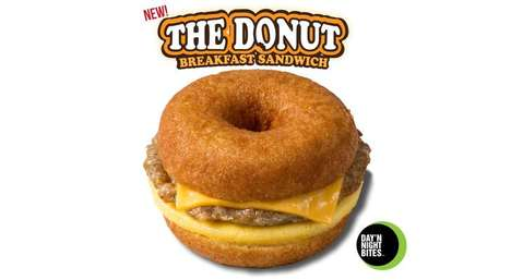 Breakfasty Doughnut Sandwiches
