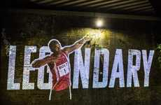 Olympic Runner Projections - Virgin Media's Virtual Projection in London Depicts Usain Bolt Running