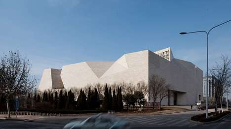 Geometrically Abstract Art Galleries - The Shandong Art Gallery's Facade Has Oblong Cut-Outs