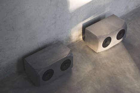 Brutalist Concrete Speakers