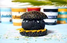 Blackened Ice Cream Burgers - The Pear Tree Cafe Black Coconut Ice Cream Burger is Darkly Delicious