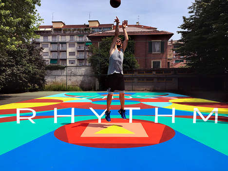 Anamorphic Basketball Courts - 'Truly's' Colorful Basketball Court Creates an Optical Illusion