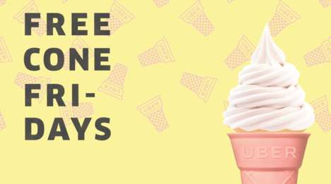 Rideshare Ice Cream Giveaways - Uber's 'Free Cone Fridays' Giveaway Lasts Until the End of Summer