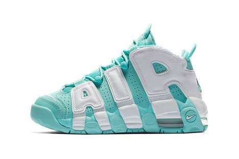 Pastel Bubble Letter-Branded Sneakers - These Air More Uptempos Boast an 'Island Green' Colorway
