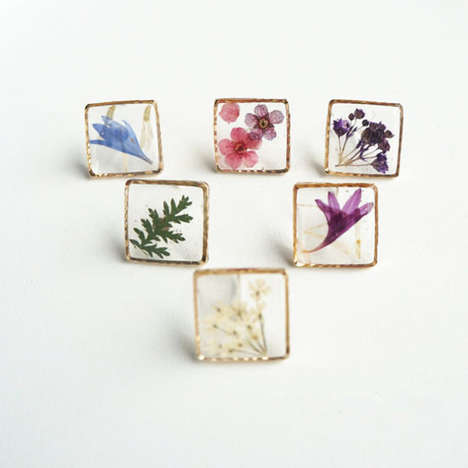 Floral Framed Earrings - These Earrings Display Real Flowers in a Clear Frame