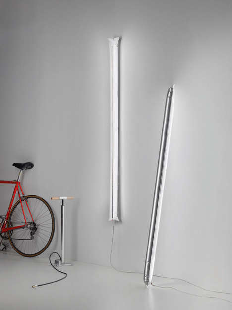Inflatable Lighting Tubes - 'Blow Me Up' Lamp Serves as an Alternative to Bulky Light Fixtures
